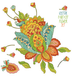 Bright fantasy flower set vector