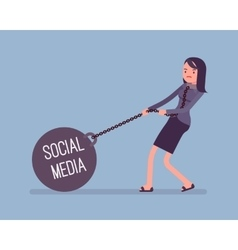 Businesswoman dragging a weight social media on vector