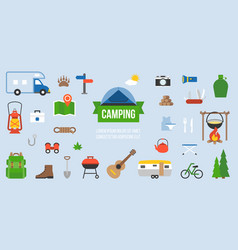 Camping equipment infographic vector