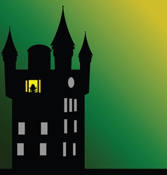 Castle with dark green background vector