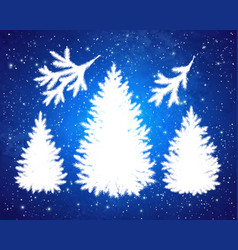 christmas spruce trees and branches silhouettes vector image
