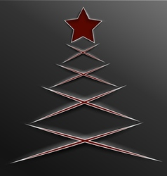 Christmas tree paper cut lines cross vector