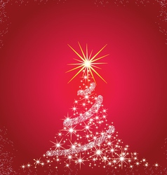 Christmas tree red background vector image