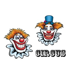 Circus cartoon clowns characters vector image