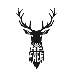 Concept silhouette of deer head with text inside vector