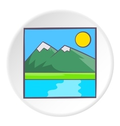 Drawing mountain landscape icon cartoon style vector image vector image