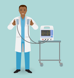 Emergency doctor with a defibrillator in his hand vector