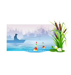 Fisherman at fishing in boat vector