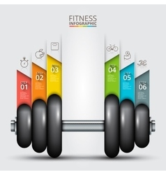 Fitness statistics and infographics with dumbbell vector