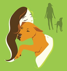 Girl and dog green color vector image