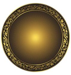 Gold and black vintage round isolated frame vector