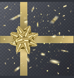 gold gift ribbon with realistic bow gift element vector image