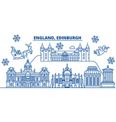 Great britain edinburgh winter city skyline vector