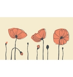 Hand-drawn poppies vector