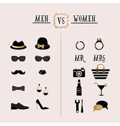 Hipster Men Vs Women accessories design icons set vector image
