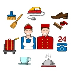 Hotel and room service sketch icons vector