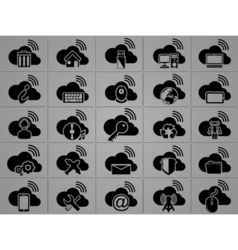 Icons cloud computing vector