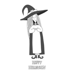 little cute witch halloween poster vector image vector image