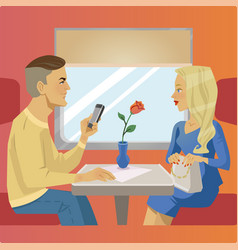 Man and woman sit near window at train restaurant vector