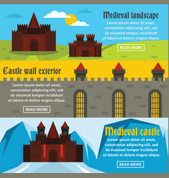 Medieval castle banner horizontal set flat style vector