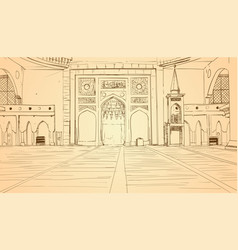 Nabawi mosque building interior muslim religion vector