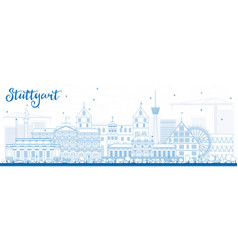 outline stuttgart skyline with blue buildings vector image vector image