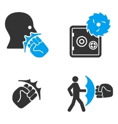 Robbery Fist Strike Flat Bicolor Icons vector image