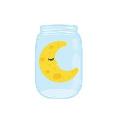 sleeping moon cartoon vector image vector image