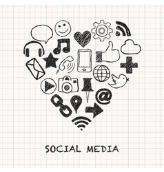 social media icons in heart shape vector image vector image