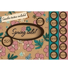 Spring sale poster with seamless texture vector image