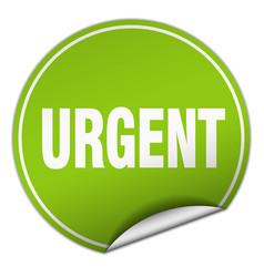 Urgent round green sticker isolated on white vector