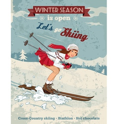 Vintage pin up girl skiing poster vector image vector image
