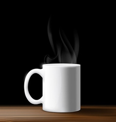 white mug on a wooden table vector image vector image