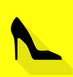 Woman shoe sign black icon with flat style shadow vector