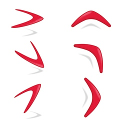 Red color boomerang different foreshortening vector