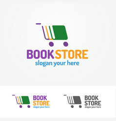 book store logo set consisting of books and cart vector image