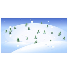 Fir trees over snowcapped landscape vector