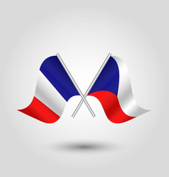 Two crossed french and czech flags vector
