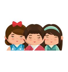 cute japanese girls cartoon vector image