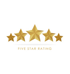 Five golden rating star in white background vector