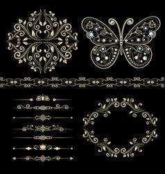 Set of floral border frame dividers vector