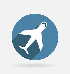 Circle blue icon with shadow airplane vector