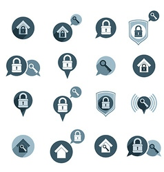 House security protection icons set home house vector