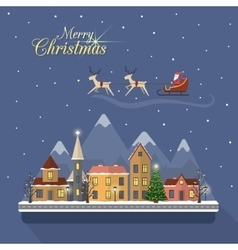 Christmas winter city street with santa vector