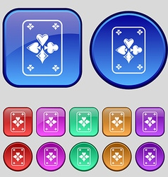 Game cards icon sign a set of twelve vintage vector