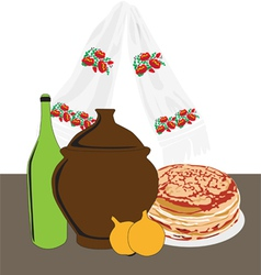 Table with russian cuisine vector
