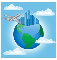 Background with plane and earth vector