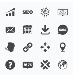 Internet seo icons bandwidth speed sign vector