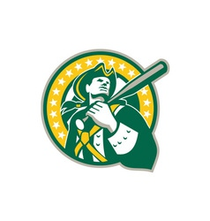 American Patriot Baseball Player Green Gold Retro vector image