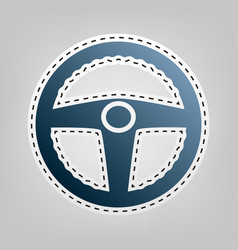 Car driver sign blue icon with outline vector